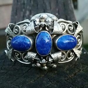 Vintage Handcrafted Silver Lapis Bracelet
